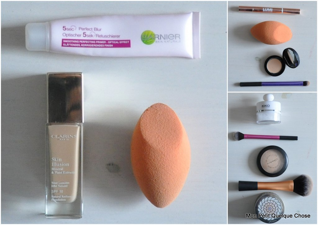 "Base 5 secondes de Garnier / Skin Illusion, Mineral & Plant Extracts de Clarins en 110 Honey / ""Miracle complexion sponge"" de RT / Lumi Magique de l'Oréal en teinte light / Full coverage concealer 01 de Kiko / Deluxe Crease Brush / Invisible Powder de Kiko / Setting Brush / Powder Brush / Mineralize Skinfinish de M.A.C / Météorites de Guerlain / idée de make-up avec le fard Kiko 111"