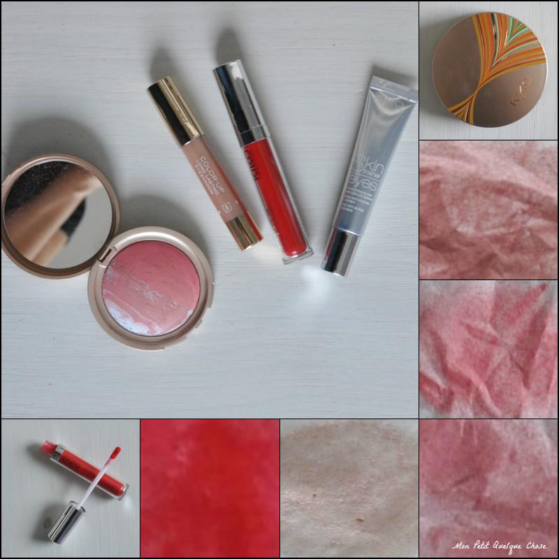 Makeup Kiko, Sun Lovers Blush en 04 Atlantic Camellia, Color-up Crayon ombre à paupière en 8 Sinuous Shell, 3D Instant Volume Brillant à lèvres repulpant et rafraîchissant en 208 Red Fire, Sérum anti-poches et cernes Skin Eyes Trainer