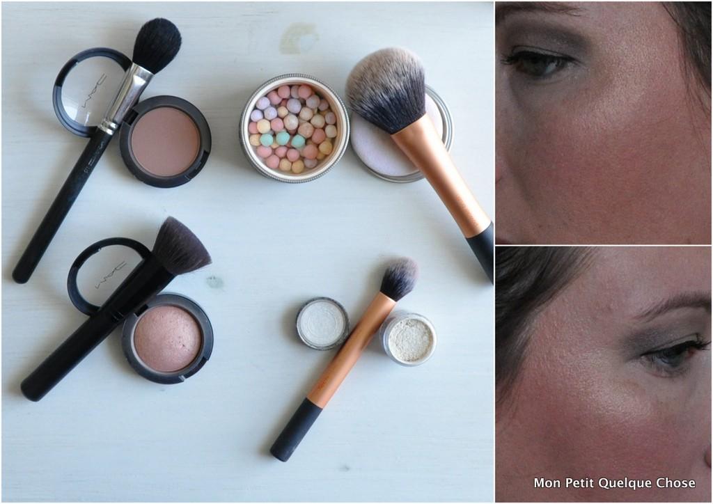 Makeup avec MAC : MAC Harmony / MAC Warm Soul / Les Météorites de Guerlain/ MAC Pigment Vanille / MAC 116 / Contour Blush-Bronzer de Sephora / Powder Brush / Contour Brush